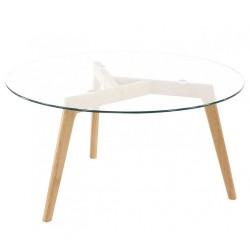 Table basse chêne et verre D90 KosyForm