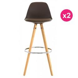 Lot of 2 Bar Chairs High Taupe Piertement KosyForm Oak