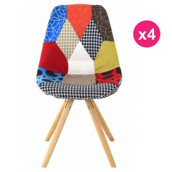 Lot de 4 Chaises Lounge Multicolore Patchwork KosyForm