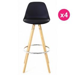 Set of 4 chairs black base oak KosyForm work Plan
