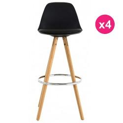 Conjunto de 4 Bar sillas roble alto negro KosyForm base