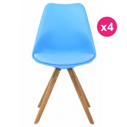 Set of 4 chairs blue oak KosyForm base