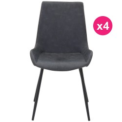 Set of 4 chairs black aged KosyForm