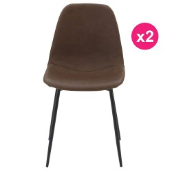 Set of 2 chairs Brown Base Metal Black KosyForm