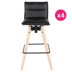 Set of 4 Bar KosyForm black leatherette chairs