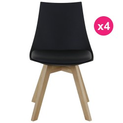 Set of 4 chairs black and oak KosyForm base
