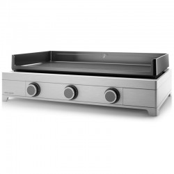Plancha Gaz Forge Adour Modern 75 Inox 3 Bruleurs 9000 W Plaque en Fonte Emaillée
