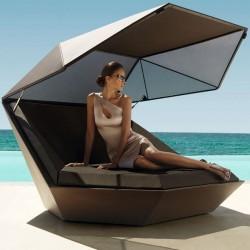 Bain de Soleil Coquille FAZ Vondom Daybed Blanc Mat avec Parasol