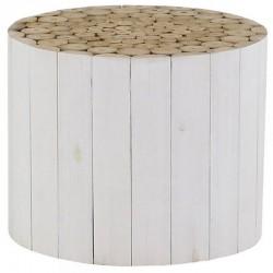 Table Basse Ronde en Teck Teinté Blanc Chalet KosyForm