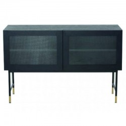 Low in veneer oak black with glass doors and feet black Tozzini KosyForm Metal furniture
