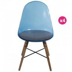 Lot de 4 Chaises Tranparente Bleu Polycarbonate et Coussin Plexi KosyForm