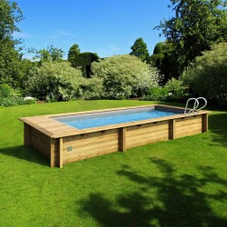 Pool urban Procopi in wood 600 x 250 x H 133 automatic with safe Filtration and heating cover