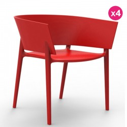Set of 4 chairs Vondom design Africa Red