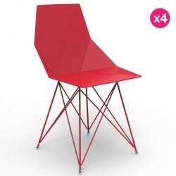 Juego de 4 sillas FAZ VONDOM patas de acero inoxidable rojo sin apoyabrazos