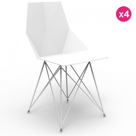 Set of 4 chairs FAZ Vondom feet stainless steel white without armrests