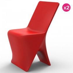 مجموعه من 2 الكراسي فوندوم تصميم Sloo الأحمر