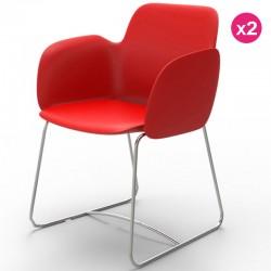 طقم من كرسيين فوندوم بيتزيتينا احمر مطفي ومعدن