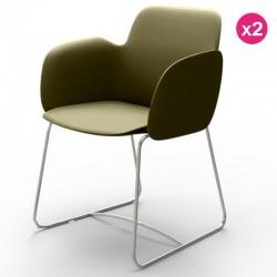 2つの椅子のパック Vondom Pezzettina カーキマットとメタル