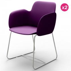 Set di 2 sedie VONDOM Pezzettina viola opaco e metallo