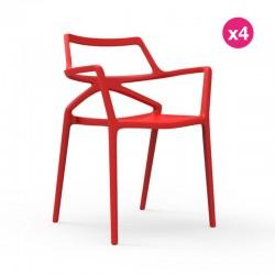 Set of 4 chairs Delta Vondom Red