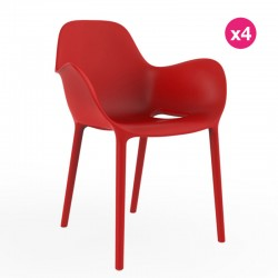 Set of 4 chairs Sabinas Vondom Red