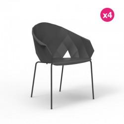 Pack of 4 chairs Vondom vases black