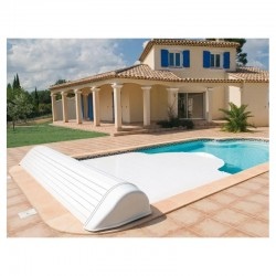 Automatic blade pool flap with 9x4 Igloo 2 White above-ground reel