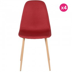 Lot of 4 Contemporary Meal Chairs in Red Fabric Lira KosyForm