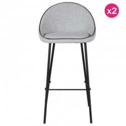 Lot of 2 Bar Chairs in Grey Fabric Aya KosyForm