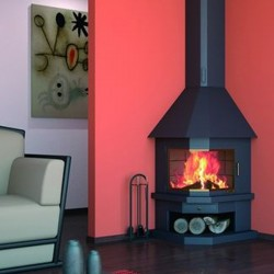 FocGrup Angle Chimney in Black Steel 11kW Open Fire 60