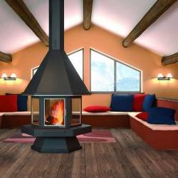 FocGrup Hexagonal Central Chimney with Glass Door