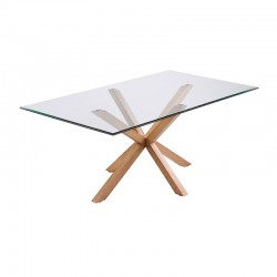 Dining Table Glass and Rectangular Wood 180 Doli KosyForm