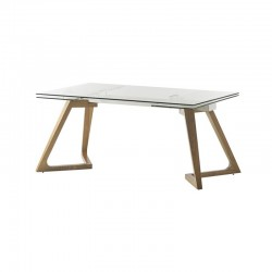 Expandable Glass and Wood Table 160-240 Tate KosyForm