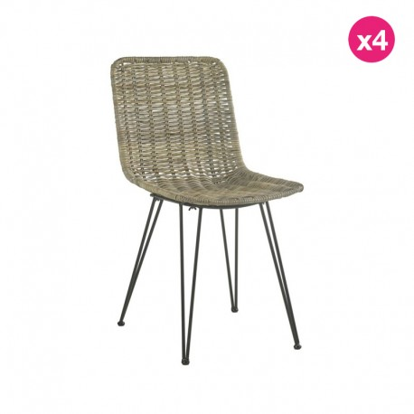 Lot of 4 Chairs in Natural Rotin and Metal Natur KosyForm