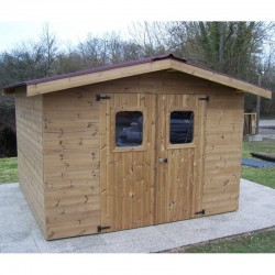 Therma Garden Shelter in Solid Wood of 10.33 m2 with Onduline Habrita Roof