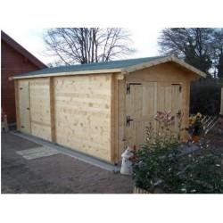 Garden Thermabri Unterstand aus Massivholz von 23,82 m2 mit Habrita Stahldach