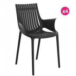 Set of 4 Vondom Ibiza armchairs with armrests Black