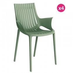 Set of 4 Vondom Ibiza armchairs with green armrests