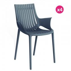 Set of 4 Vondom Ibiza armchairs with armrests Navy Blue