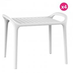 Set of 4 Coffee Tables Vondom Ibiza White Milos