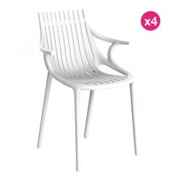 Juego de 4 sillas Vondom Ibiza con reposabrazos blancos