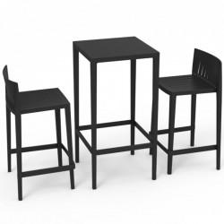 Ensemble Spritz table et 2 tabourets Vondom, hauteur d'assise 66cm noir