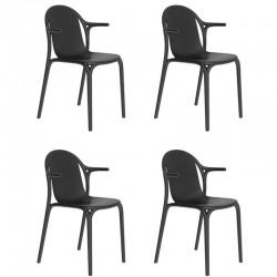 Lot de 4 fauteuils Vondom Brooklyn noir