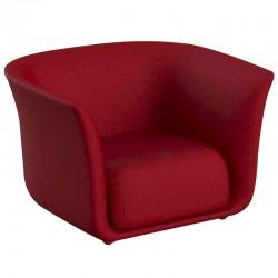 Fauteuil Vondom design Suave en tissu déperlant rouge Grenat 1046