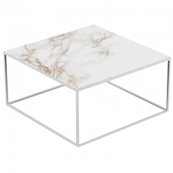Table basse carrée Pixel Vondom Entzo blanc et pieds blancs 80x80xH25