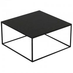 Table basse carrée Pixel Vondom Dekton Kelya noir et pieds noirs 80x80xH25