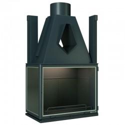 Foyer Insert double face Focgrup 10Kw en acier avec 2 cotés vitrés et cadre Inox