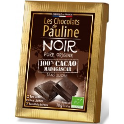 Les 5 Tablettes de chocolat NOIR 100 pour cent cacao de MADAGASCAR - 350 g (5 x 70 g)